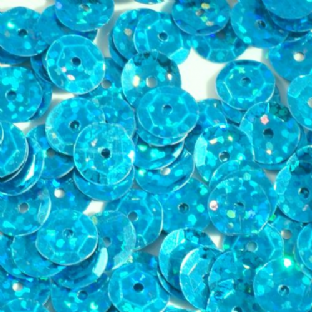 8mm Hologram Turquoise Semi-cupped Sequins x 20g